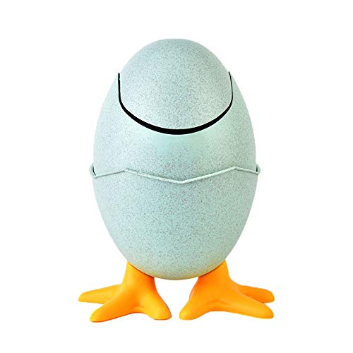 (Juner Desktops Trash Can Mini Dinosaur Egg Type Wheat Straw Swinging Lid Waste Bins Kitchen Living Room Garbage Storage Bucket (Green))