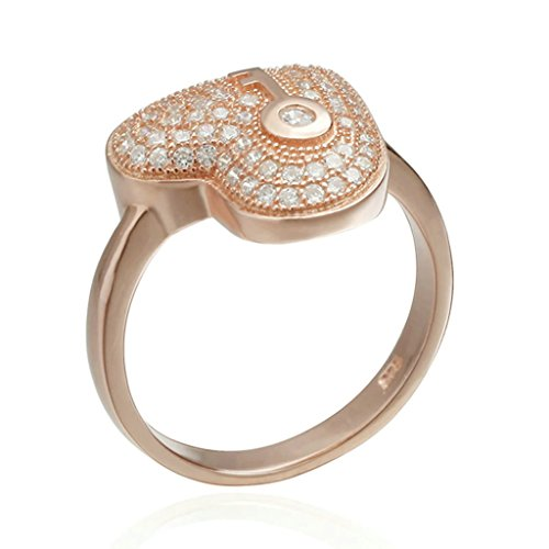 AmDxD Jewelry Silver Plated Wedding Bands for Women Heart Key CZ Rose Gold Size (Heart Silver Plated Key Ring)