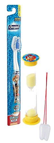 "Paw Patrol ""Let's Fire It Up"" 2pc Bright Smile Oral Hygiene Set! Toothbrush & Marshall Brushing Timer! Plus Bonus ""Remember To Brush"" Visual Aid"