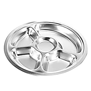 stainless steel divided plate round food tray with 5 compartments for kids and. Black Bedroom Furniture Sets. Home Design Ideas
