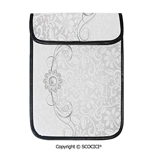 SCOCICI iPad Pro 12.9 Inch Sleeve Tablet Protective Bag Lace Inspired Flourish Motifs Background with Bridal Flower Border Wedding Theme Custom Tablet Sleeve Bag Case (Best Wedding Motif For 2019)