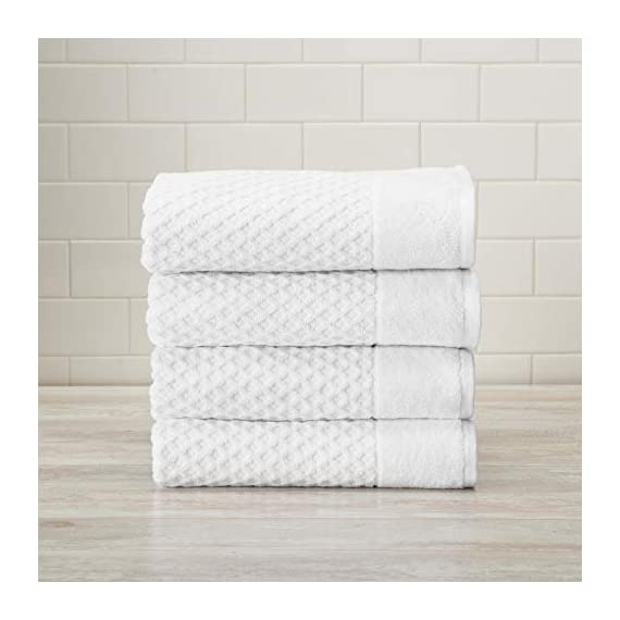 Great Bay Home 100% Cotton Quick-Dry Bath Towel Set (30 x 52 inches) Highly Absorbent, Textured Luxury Bath Towels. Grayson Collection (Set of 4, Optic White) - AFFORDABLE BUNDLE: 4-pack of plush bath towels with a classic and simple pique border and woven detailed pattern. 4 Bath Towels (30 inch x 52 inch) QUICK-DRY, TEXTURED, LATTICE WAFFLE WEAVE: Our Grayson towels are designed to absorb more liquid than ordinary towels, and they dry quickly and completely. SUPER SOFT: These cotton bath towels feel super soft against your skin. Plus, they add a clean and modern look to your bathroom. - bathroom-linens, bathroom, bath-towels - 41jgnSIZ6BL. SS570  -