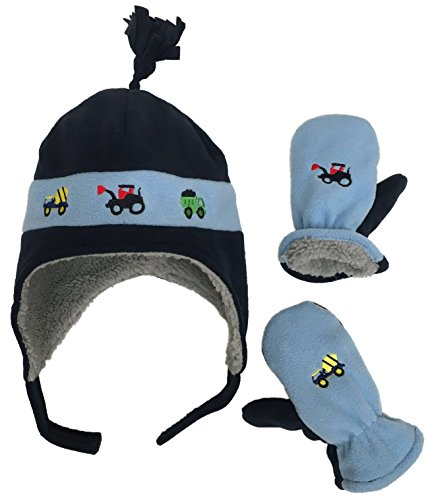 N'Ice Caps Little Boys and Baby Sherpa Lined Fleece Hat Mitten Embroidery Set (2-3yrs, Navy/Light Blue Trucks)