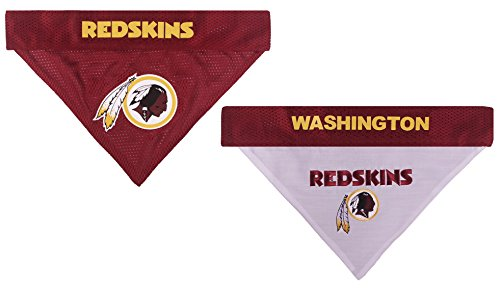 NFL REVERSIBLE BANDANA for DOGS & CATS +Washington Redskins+. Size Small/Medium. - Soft Mesh & Premium Embroidery TEAM SCARF BANDANA. DOG Birthdays, Party's, Football Games. PET BANDANNA Dual Sided