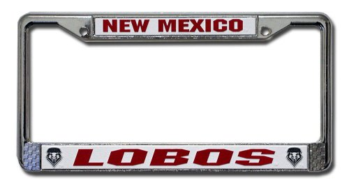 Rico Industries NCAA New Mexico Lobos Standard Chrome License Plate Frame