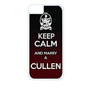 Keep Calm and Marry a Cullen Hard White Plastic Snap - On Case with Soft Black Rubber Lining-Apple Iphone 5c Only - Great Quality!