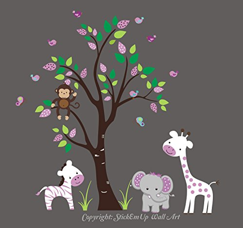 Purple Animal Decals - Purple Themed Nursery Stickers - White and Purple Nursery Decals - Large Animal Wall Decals - Baby Girl's Wall Decals - Safari Animal Decals - Jungle Wall Stickers by Nursery Wall Decals