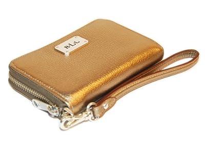 Ralph Lauren Womens Polo Leather Wristlet Card Coin Wallet Metallic Gold Silver