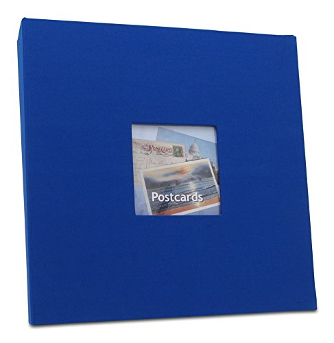 Postcard Organizer - Hobbymaster Postcard Collecting Album, Prestige Linen Style, Royal Blue