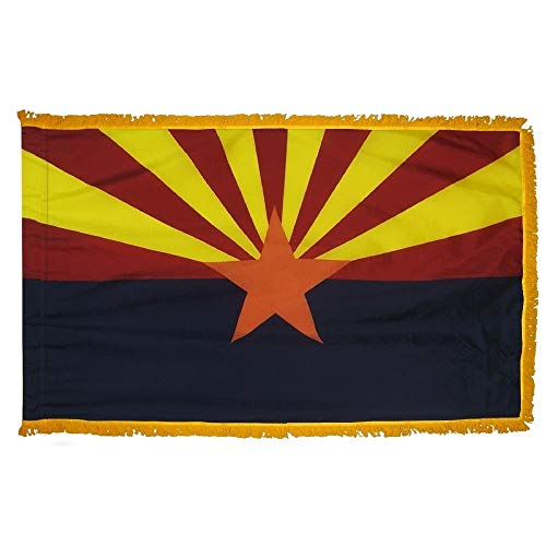 Arizona State Flag with Gold Fringe; Perfect for Presentations, Parades, and Indoor Display; an Elegant Ceremonial Flag; 100% Made in The USA (3'x5') ()