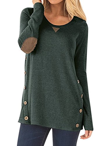 - NICIAS Womens Side Buttons Long Sleeve Casual Crew Neck Elbow Patched Tunic Tops Loose T Shirt Blouses(Dark Green, Medium)