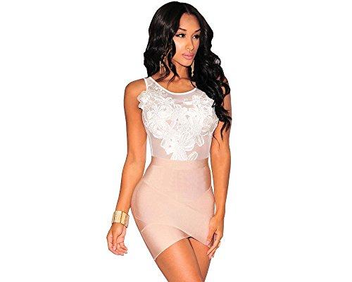 Carolina Dress Body Blanco Floreado Vestidos Ropa a LA Moda Para Mujer De Fiesta y Noche Elegante Casuales (M) VE0031