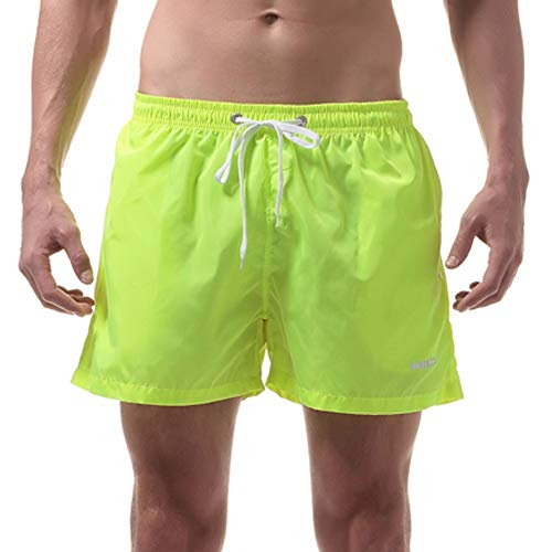 Eolgo Fashion Swim Trunks for Men, Beach Loose Breathable Boardshorts Quick Dry Surfing Swimming Beach Shorts(Yellow,L)