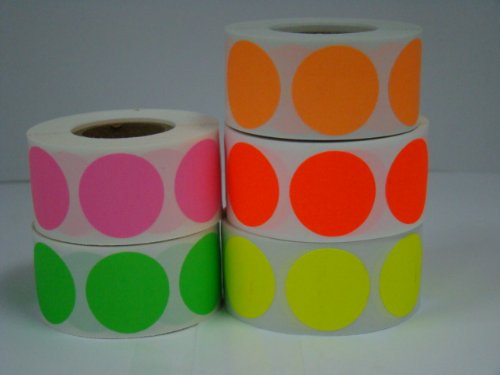 (5 rolls of 500 labels each color of (TWO) 2 inch Round Color Coded Inventory Quality Control Labels Dots (Fluorescent) )