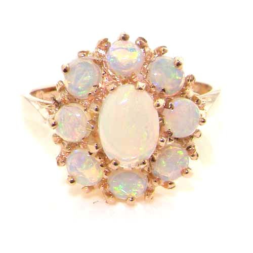 Colorful Opal Ring - 14K Solid English Rose Gold Ladies 9 Stone Colorful Fiery Opal Ring - Sizes 5 to 12 Available
