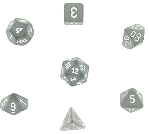 Number Dice Set - Polyhedral 7-Die Frosted Chessex Dice Set - Smoke with White Numbers