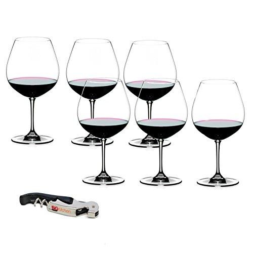 Riedel Vinum Leaded Crystal Pinot Noir/Burgundy 6 Piece Wine Glass Set with Bonus BigKitchen Waiter's Corkscrew ()