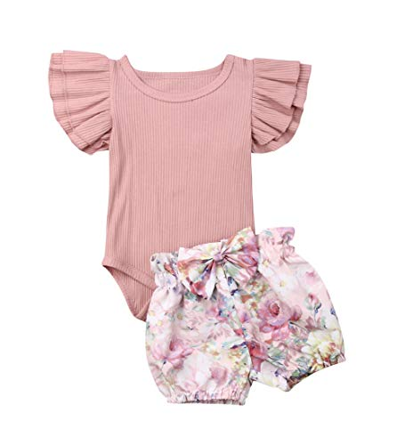 (3PCS Clothes Set Newborn Toddler Baby Girl Romper Bodysuit Jumpsuit Floral Halen Pants Outfit Clothes (6-9 Months, Pink 2))