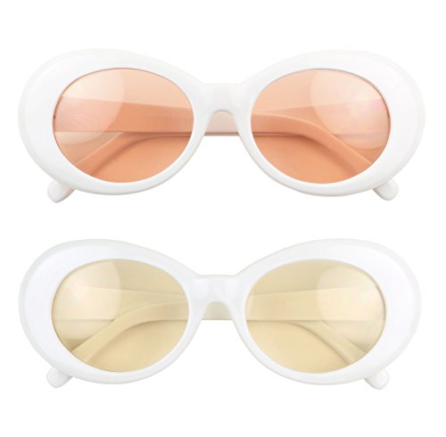 ShadyVEU - Elite Retro Pop Colorful Lens White Clout Goggles Oval Mod Sunglasses (2-Pack Yellow & Peach, (Goggles Pop)