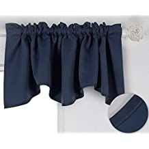 Deconovo Window Dressing Rod Pocket Drapes Blackout Drapes Scalloped Valances Short Curtains for Bedroom 52x18 Inch Navy Blue 1 Drape
