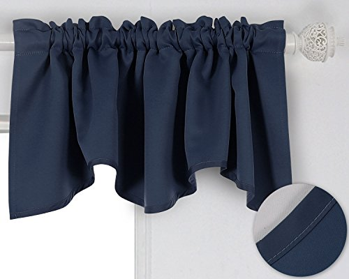 Deconovo Solid Color Rod Pocket Curtains Blackout Valance Wi