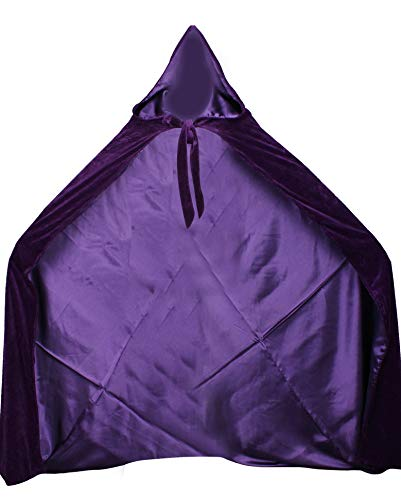 LuckyMjmy Velvet Renaissance Medieval Cloak Cape lined with Satin (Small, Purple)