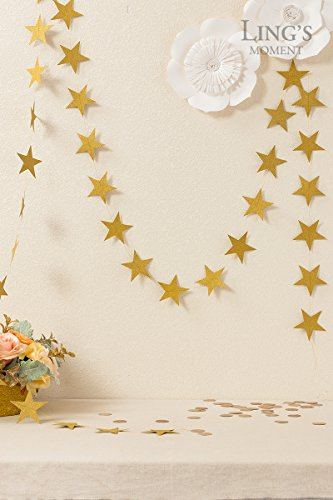 Ling's moment Star Garland Star Bunting Decorations, Paper Star Banner Hanggings for Wedding Birthday Party Baby Shower Christmas & Party Supplies 34pcs Stars