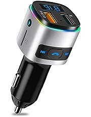 """SONRU Trasmettitore FM Bluetooth, Adattatore Senza Fili Radio Kit Player MP3 Vivavoce per Auto, Display da 1.44"""", Doppia Porta USB, qualità del Suono Crystal A2DP, Morsetto Magnetico con Cavo 1.1M"""