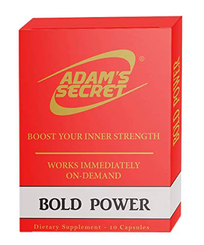 Bold Power by ADAM'S SECRET Natural Male Energy Enhancing Pills – Natural Amplifier for Strength, Energy and Endurance – Clinically Proven Effective Men Pills (10 Caps)