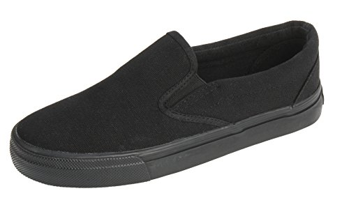 - UJoowalk Womens All Black Comfortable Casual Canvas Slip On Fashion Sneakers Loafers Walking Skate Shoes - Size 6