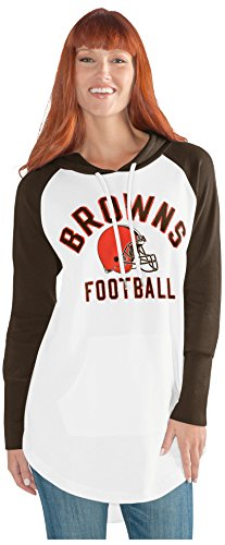 GIII For Her NFL Cleveland Browns Adult Women All Division Tunic Hoodie, Medium, White/Brown