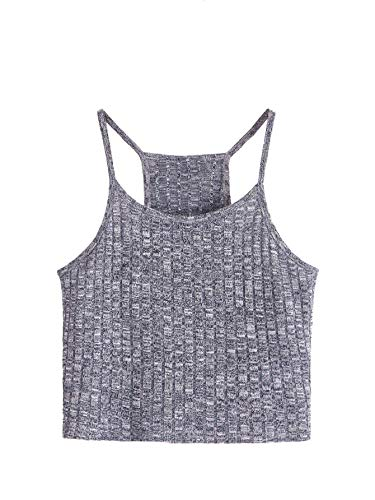 SheIn Women's Summer Basic Sexy Strappy Sleeveless Racerback Crop Top Medium Grey#3