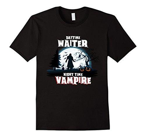 Mens Waiter Vampire By Night Halloween Costume Shirt 2XL Black