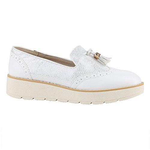 Damen Lack Slipper Loafers Metallic Quasten Schuhe Profilsohle Flandell Weiss Creme