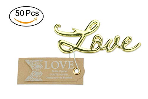 50 pcs Gold Bottle Openers Wedding Favors Decorations, Kraft Paper Label Card Tag, Love Shaped, Party Supplies by IBWell