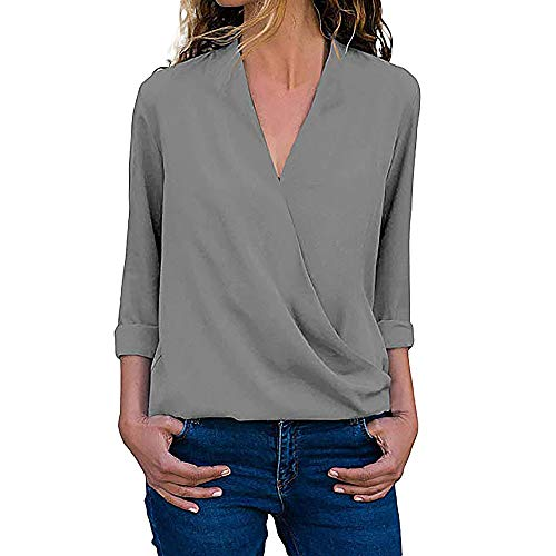 (ZEFOTIM Clearance Sale Women Casual Wrap V Neck Roll Up Long Sleeve Solid Blouses Shirt Tops T-Shirt)