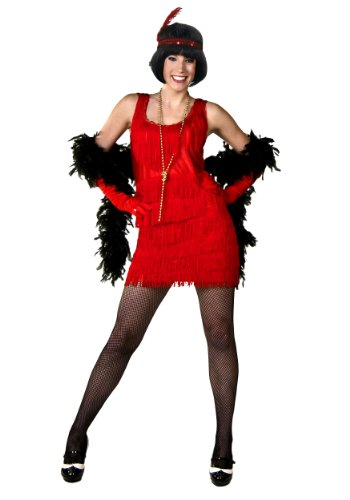 [Red Plus Size Flapper Dress] (Sequin & Fringe Red Flapper Costumes)