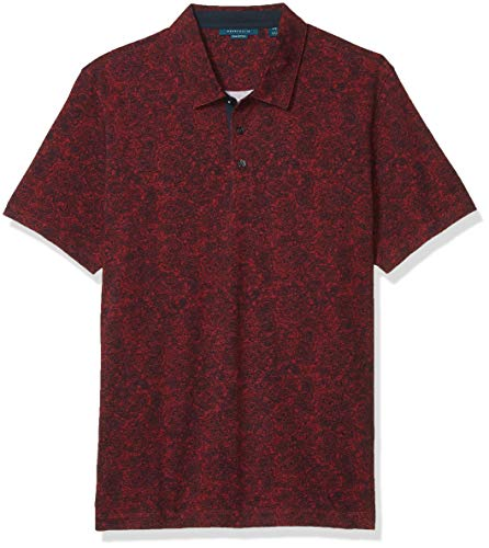 Perry Ellis Men's Pima Cotton Paisley Print Short Sleeve Polo Shirt