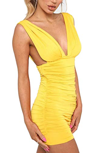 Jennyarn Women Fitted Dresses Ruched Plunge Neck Backless Body Con Wedding Guest Dresses L Yellow