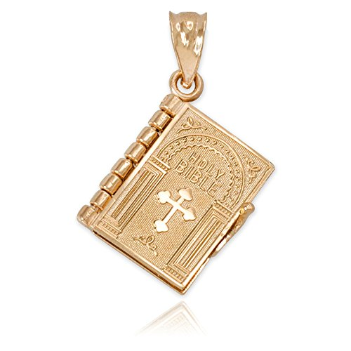 Polished 10k Gold 3D Holy Bible Book w/Lord's Prayer Inside Charm Pendant (Prayer Bible Charm)