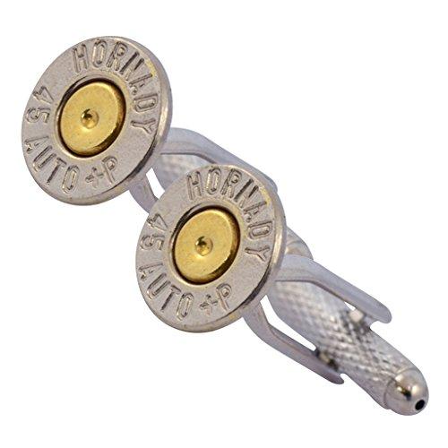 Little Black Gun 45 Auto Caliber Bullet Cufflinks, Thin Nickel and Brass 2 Tone