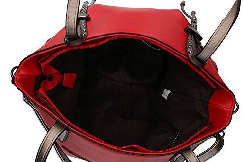 apertura PIERRE donna zip VN1866 CARDIN con spalla tracolla rosso Borsa con a va7wzqWWnX
