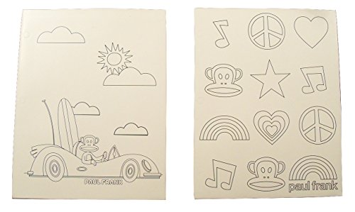 Paul Frank Color Your Own 2 Folder Set ~ Beach and Surfing Convertible Adventure; Peace, Love and Rock 'n Roll