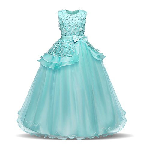 Style Prom Princess Gowns (Acecharming Flower Pegeant Dress with Bowknot Fluffy Tulle Ball Prom Birthday Wedding Floor Length Gown for 8-9 Years(Turquoise)