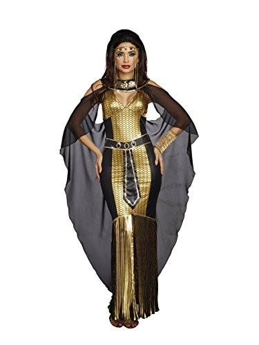 Dreamgirl Women's Egyptian Queen, Black/Gold, L (Cleopatra Couple Costume)