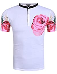 "<span class=""a-offscreen"">[Sponsored]</span>Men's Pink Roses Graphic Print Henley Short Sleeve Fashion T-Shirts"