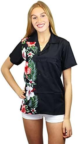 Funky Hawaiian Blouse Women Short-Sleeve Front-Pocket Wedding Flowers Multiple Colors