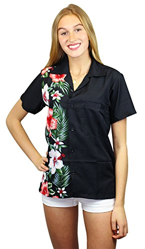 V.H.O Funky Hawaiian Blouse Women Short-Sleeve Front-Pocket Wedding Flowers Multiple Colors …