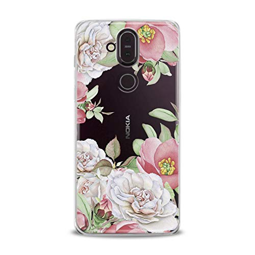Lex Altern TPU Case for Nokia 9 PureView 8.1 Plus 7.1 6.1 X6 5.1 3.1 Pink Pastel Flowers Flex Clear Floral Cover Roses Print Feminine Girls Petal Roses Women Protective Pretty Silicone Translucent