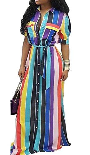 Domple Moda Da Cintura Pulsanti Corte Blu Vestito A Partito Colorato Maniche Donne Strisce EqHzEd